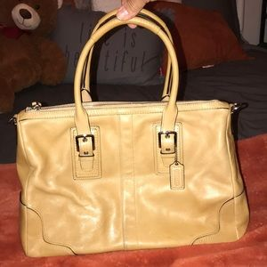 Beige leather Coach purse